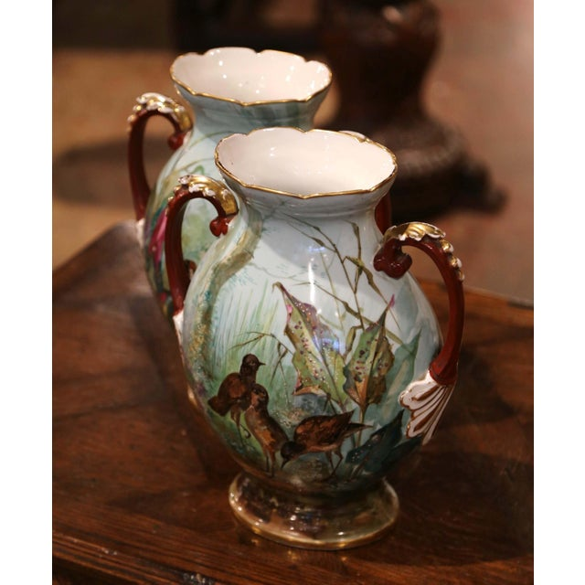 Pastel Pair of 19th Century French Painted and Gilt Porcelain Vases With Bird Decor For Sale - Image 7 of 12