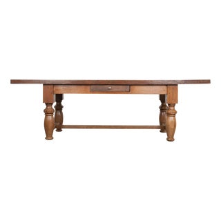 French 19th Century Refectory Style Oak Farmhouse Table For Sale