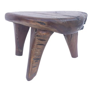 Rustic Live Edge Solid Wood Footstool For Sale