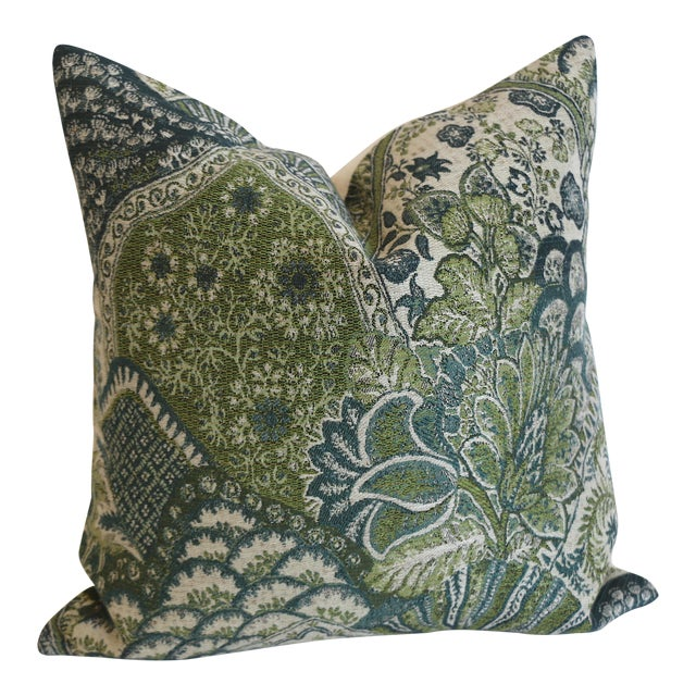 Tapestry Pillow Cover in Green & Blue: 16x16 For Sale