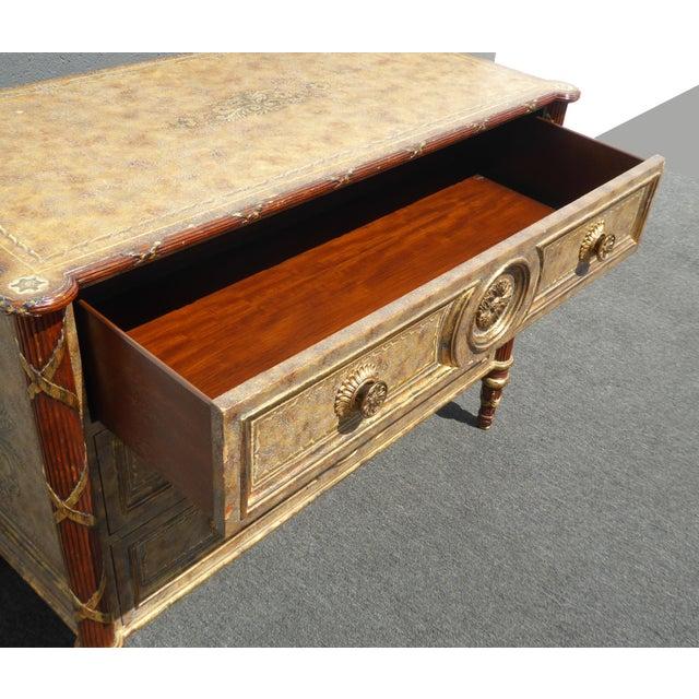 Vintage Maitland Smith Beige & Gold Ornate 3 Drawer Chest ~ Hollywood Regency Dresser For Sale - Image 9 of 13