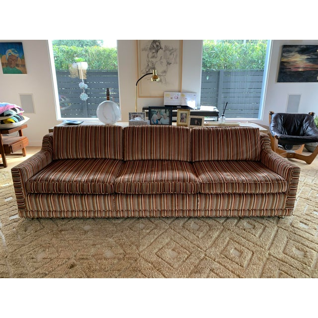 Textile 1970s Velvet Striped Couch- Original Upholstery For Sale - Image 7 of 7