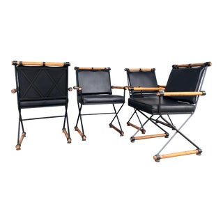 Mid-Century Cleo Baldon Fumed Wood & Iron Arm Campaign Chairs - Set of 4 For Sale