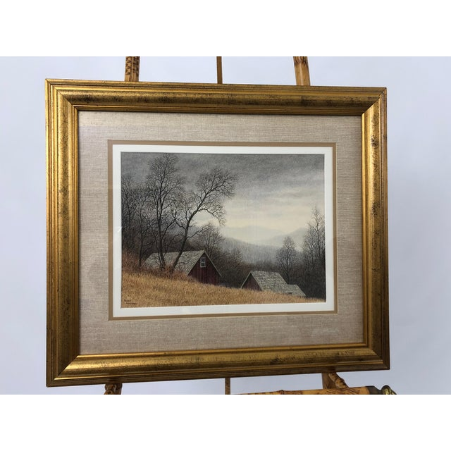 Original Realist Peter Keating Dreamy Watercolor of Mountainside Barn For Sale - Image 10 of 10