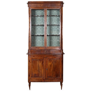 19th Century Narrow Farmhouse Glass Top Cabinet From Tuscany For Sale