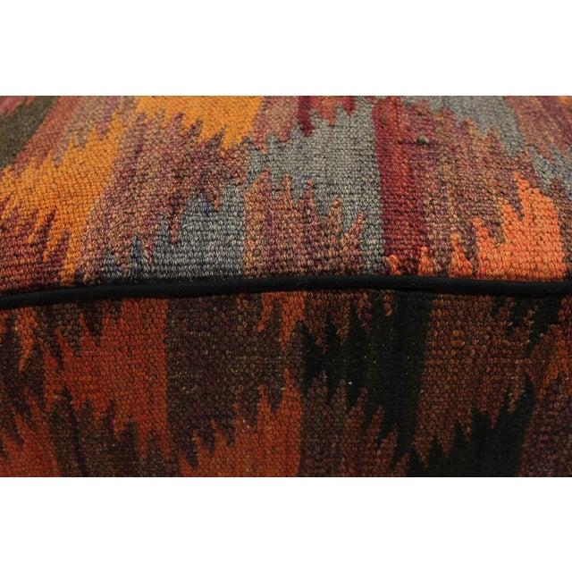 Wood Boho Chic Camp Orange/Rust Handmade Kilim Upholstered Ottoman For Sale - Image 7 of 8