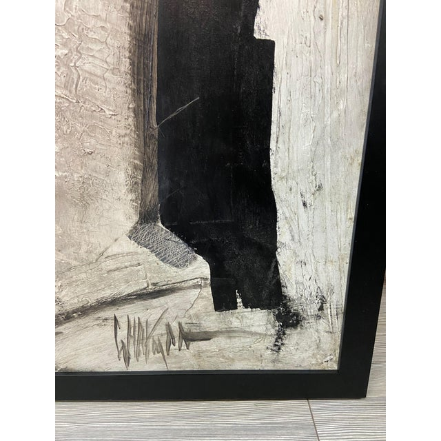 1960s Abstract Black and White Painting by Graham Harmon For Sale - Image 9 of 13