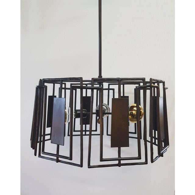 Trellis chandelier by Paul Marra. A modern fixture, in the organic modern or brutalist style. Only this one remaining from...