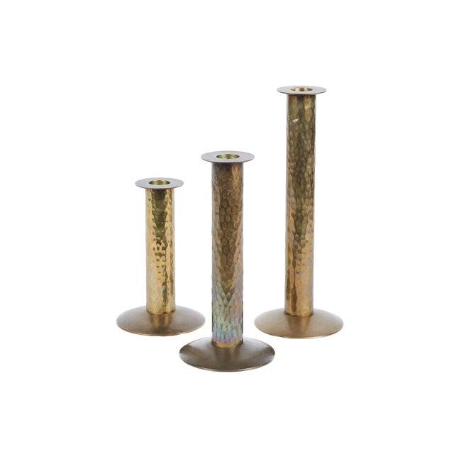 1970s Hammered Brass Candlesticks - Set of 3 For Sale
