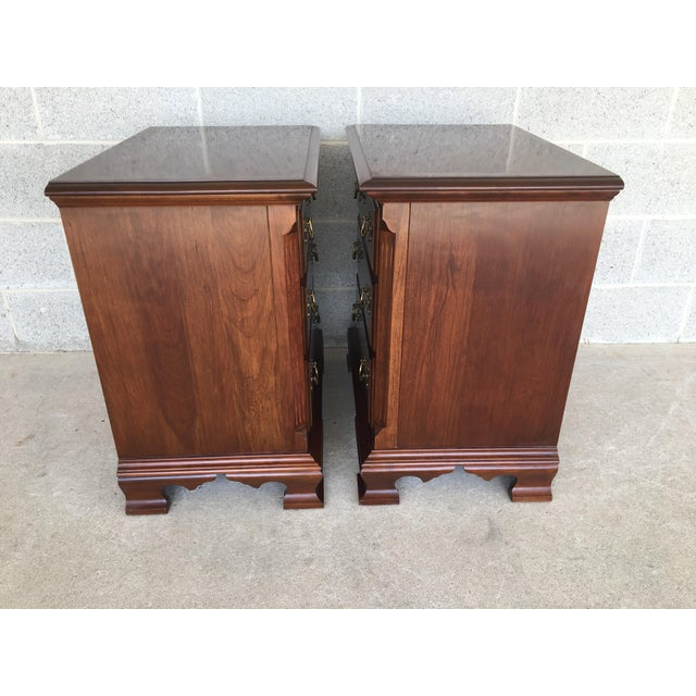 Chippendale Colonial Furniture Cherry Chippendale Style 3 Drawer Nightstands - a Pair For Sale - Image 3 of 8