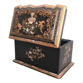 Antique Jennens & Bettridge Chinoiserie Papier-Mâché Box