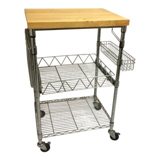 Kitchen Cart With Wood Butcher Block Top For Sale