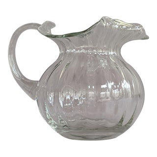 Beveled Water Pitcher - With Ruffled Handkerchief Top For Sale