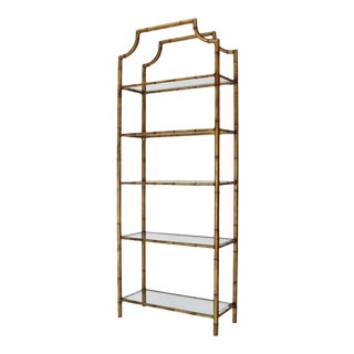 Mid Century Modern 5-Tier Faux Bamboo Etagere Shelving Unit For Sale