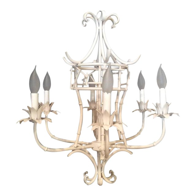 Vintage Faux Bamboo Metal Pagoda Chandelier For Sale - Image 9 of 9