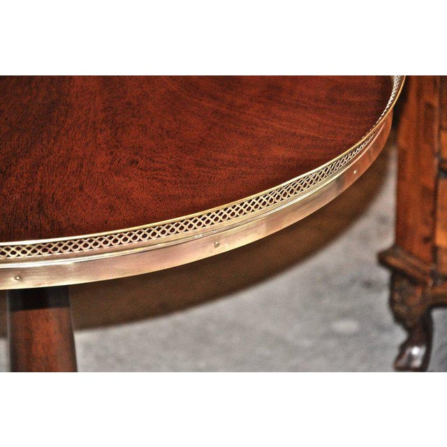 Midcentury Regency Style Mahogany Side Tables with Brass Gallery - A Pair For Sale - Image 4 of 7