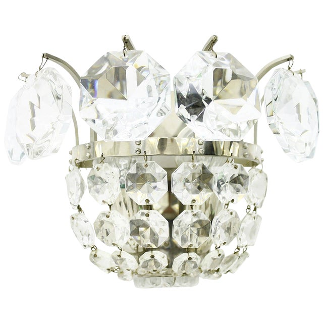 One of Four Wall Sconces by Bakalowits Crystal and Nickel, Austria, Circa 1960s For Sale