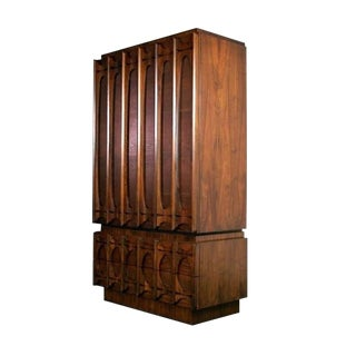 Mid Century Modern Paul Evans Brutalist Style Sculpted Walnut Gentleman's Chest / Armoire For Sale
