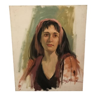 1990s Portrait of Woman Oil on Canvas Painting For Sale