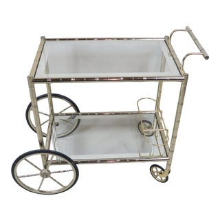 Mid Century French Brass Faux Bamboo Bar Cart For Sale