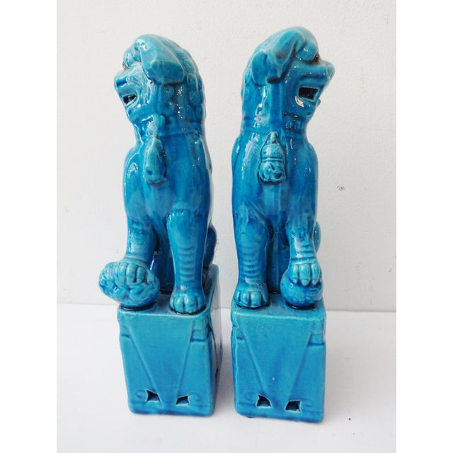 Turquoise Porcelain Foo Dogs - A Pair - Image 4 of 7