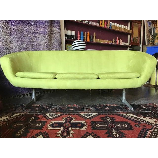 Green 1960s Vintage Lime Green Velvet Overman Pod Sofa For Sale - Image 8 of 9