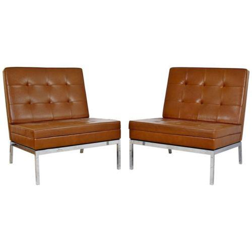 Mid Century Modern Pair Vintage Knoll Chrome Leather Slipper Chairs Model #65 For Sale - Image 10 of 10