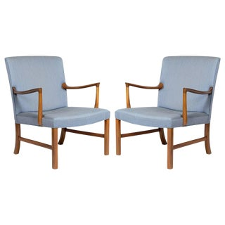Pair of Ole Wanscher Lounge Chairs For Sale