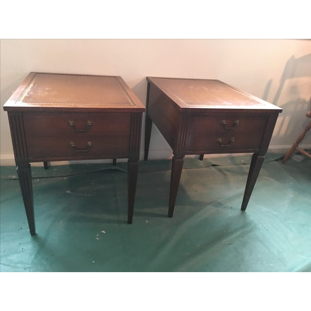 """Leather Top """"Neptune"""" Matching Side Tables - 2 - Image 2 of 5"""