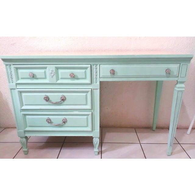 1960s Aqua Blue Chalk Paint Writing Desk For Sale - Image 5 of 8