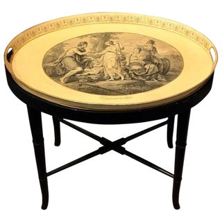 """Judgment of Paris"" Tole Tray Table by Mottahedeh For Sale"