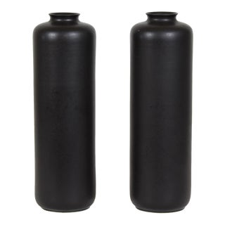 Pair of Hand Thrown Sophisticated Black Vases For Sale