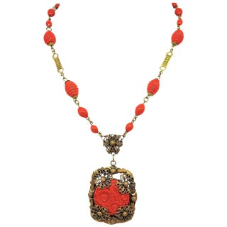 1920s Czech Coral Glass Pendant Necklace For Sale