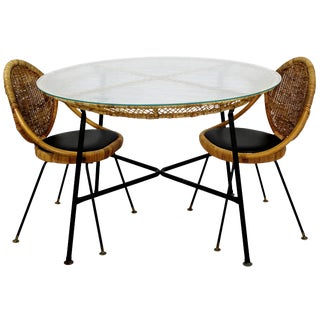 Mid-Century Modern Danny Fong Tropical Bamboo Rattan Iron Patio Table Two Chairs For Sale