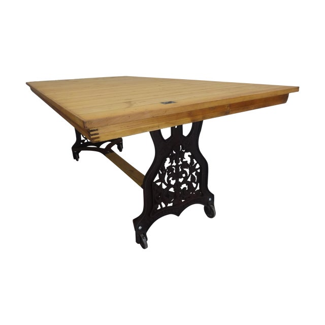 Swedish Antique Iron Base Dining Table For Sale