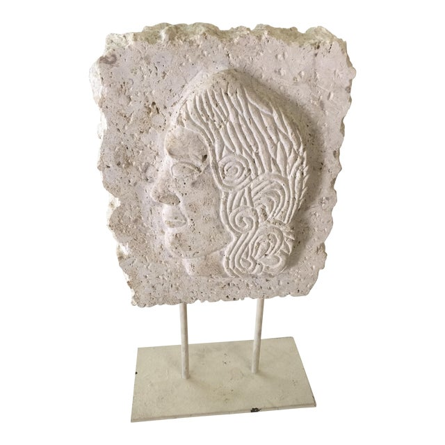 Carved Stone Greek Relief Sculpture with stand For Sale