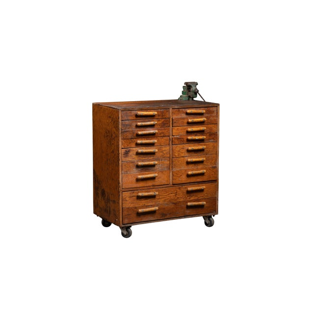 Industrial Vintage Industrial Machinist Cabinet With Bench Vise For Sale - Image 3 of 11
