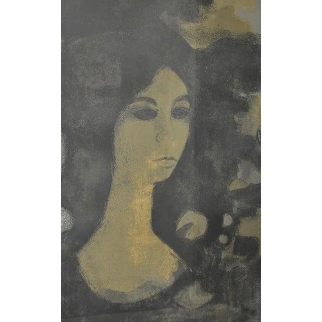 """Paper Andre Mineaux """"Tete de Femme"""" Original Lithograph c.1960s For Sale - Image 7 of 11"""