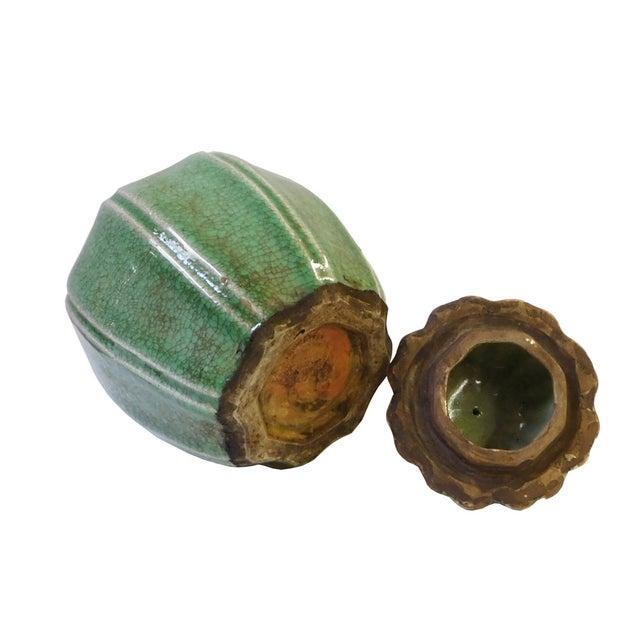 Ceramic Crackle Pattern Pumpkin Celadon Green Jar For Sale - Image 5 of 6