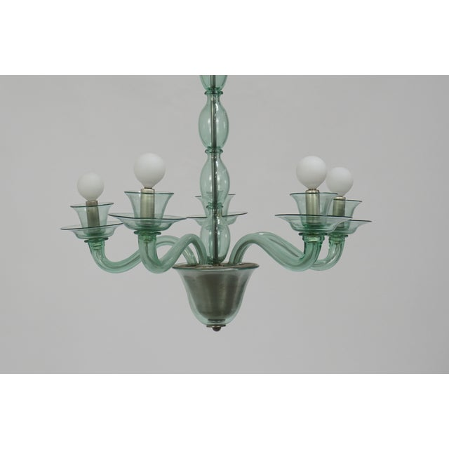 1930s Mid-Century Modern Solid Aqua Murano Glass Chandelier For Sale - Image 5 of 11