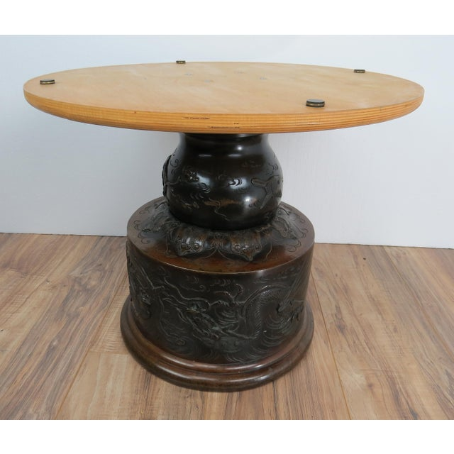 Late 19th Century Antique Japanese Meiji Bronze Jardinière Occasional Table