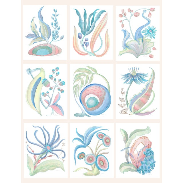 """""""Seaweed Fantasy Series"""" Contemporary Coastal Coral Reef Acrylic Paintings by Allison Cosmos - Set of 9 For Sale - Image 11 of 11"""