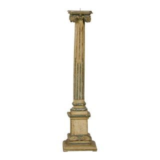 19th Century Italian Neoclassical Carved Wooden Original Painted Finish Candle Stand For Sale