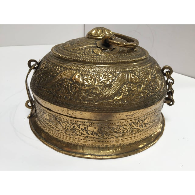 Decorative Large Round Anglo-Indian Brass Box Tea Caddy For Sale - Image 10 of 10