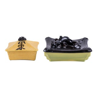 1950s Vintage Chinoiserie Ceramic Boxes - Set of 2 For Sale