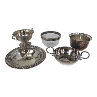 Silver-Plate Nut and Sweet Bowls-5 Pieces For Sale
