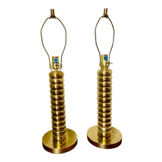 Vintage Uno Dahlén Bordslampor Aneta Style Brass Plated Table Lamps - a Pair For Sale
