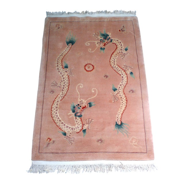 Early 20th Century Art Deco Chinese Dragon Rug-4′ × 6′9″ For Sale
