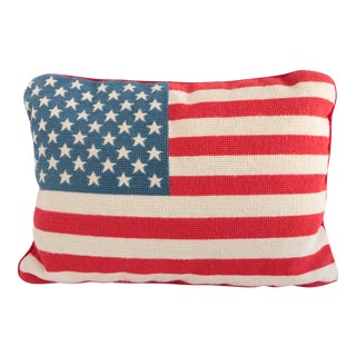 Needlepoint American Flag Pillow