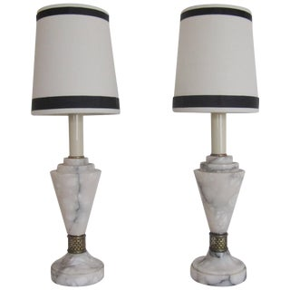 Pair Art Deco White Carrara Marble Table or Bedside Lamps For Sale